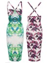 CELEBRITY JESSICA WRIGHT TROPICAL PRINT BODYCON DRESS