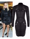 Celeb Inspired Turtle Neck Side Split Bodycon Dress