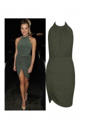 Khaki Halterneck Backless Mini Dress