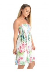 Green Leaf Sheering Mini Dress Top