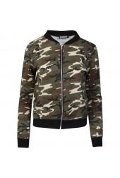 Camouflage Army Print Biker jacket