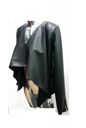 Celebrity style waterfall Draper leather look  Blazer Jacket