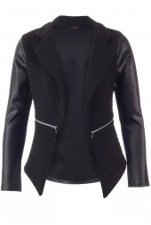 Quilted PVC Wet Leather Look Blazer Jacket