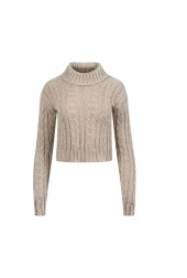 Polo Neck Chunky Cable Knitted Crop Jumper