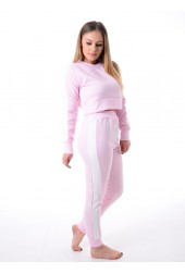 Baby Pink Striped Top Pants Suit Loungewear