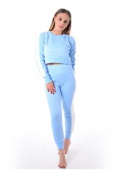 Sky Blue Striped Top Pants Suit Loungewear