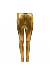 High waisted Fit Leather look Disco Tube Pants
