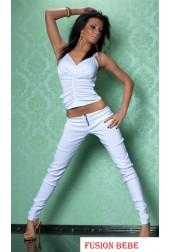 Ladies Skinny Fit look stretchy Brass zip Trouser